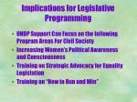 implications for legislative programming