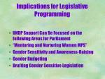 implications for legislative programming1