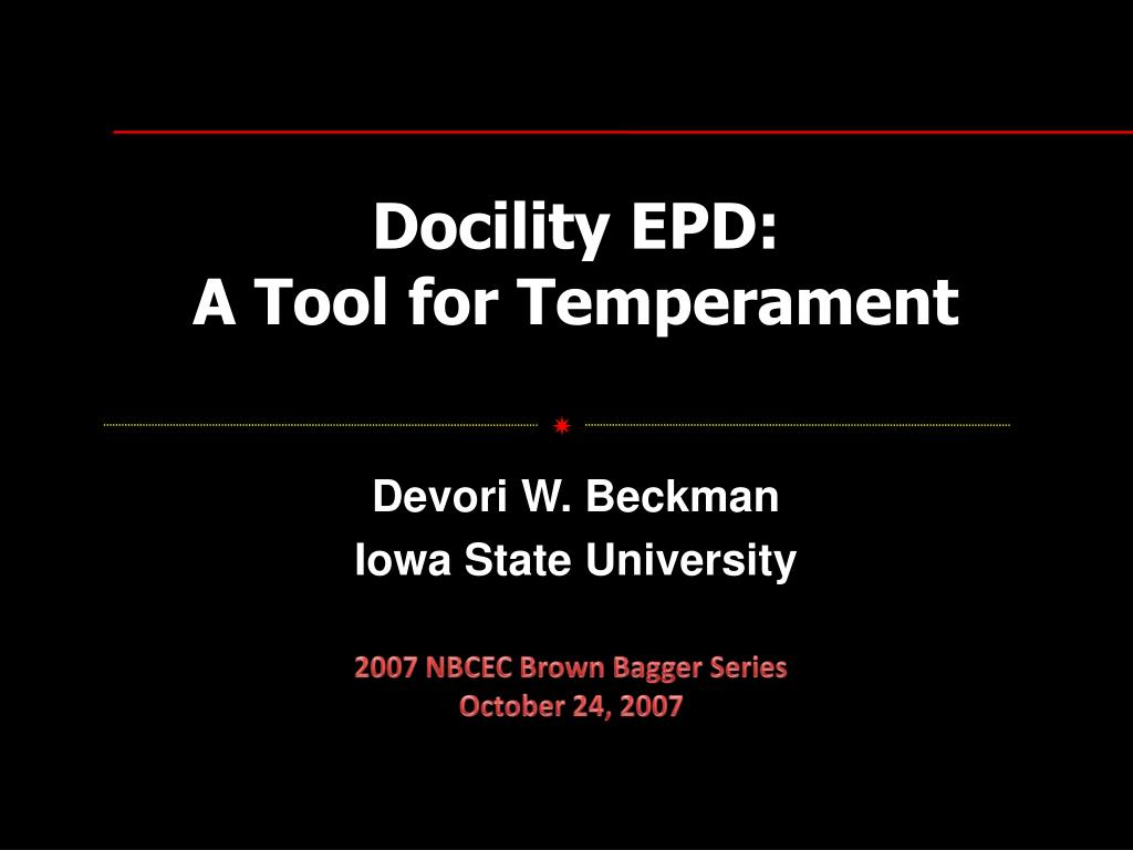 docility epd a tool for temperament l.