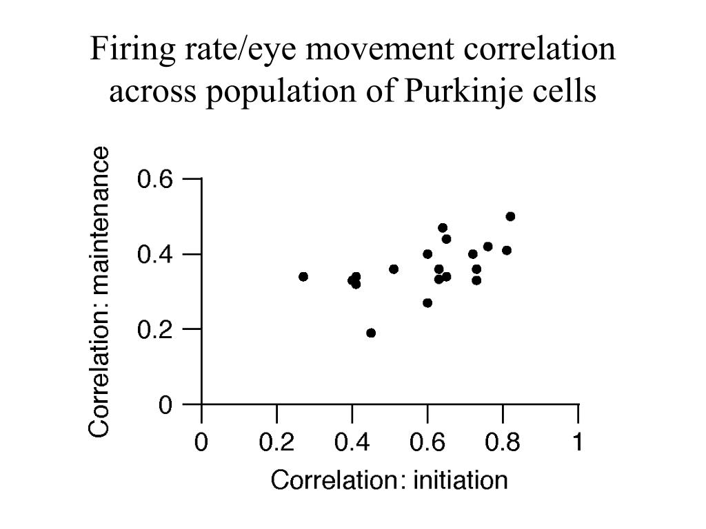 Firing rate/eye movement correlation across population of Purkinje cells