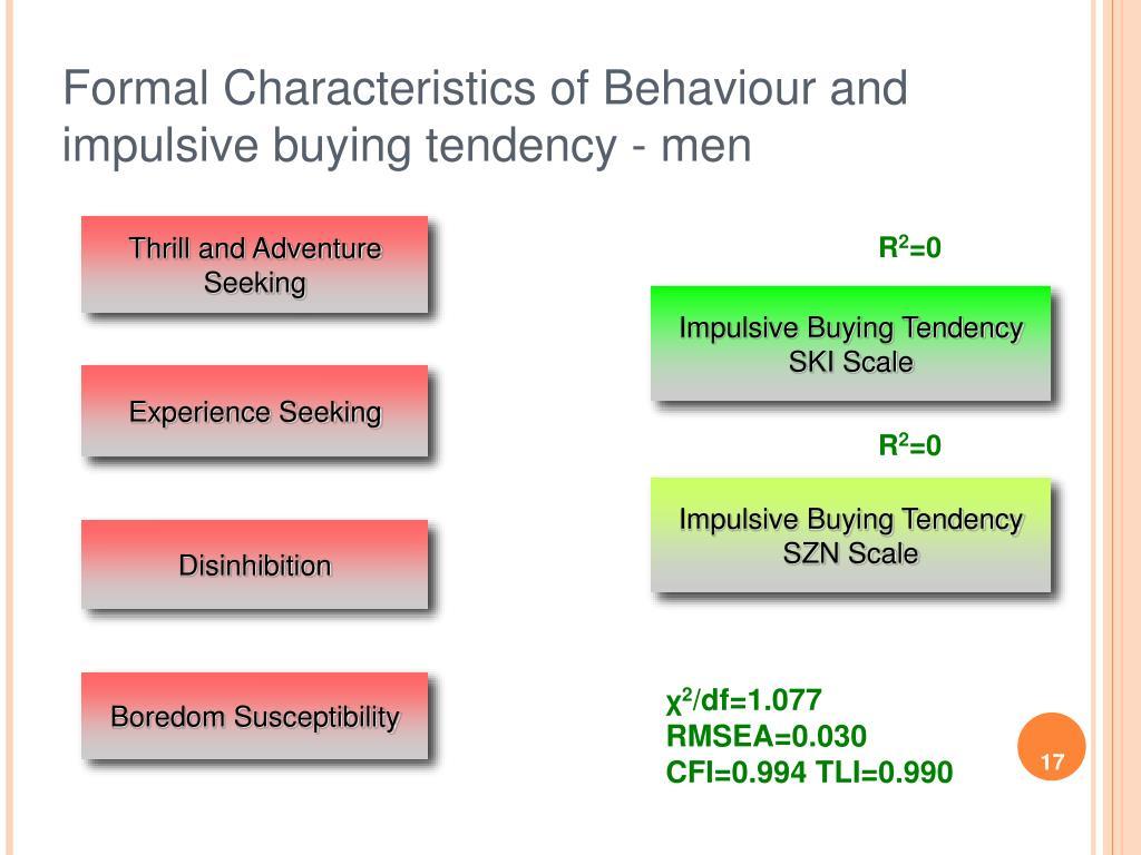 Formal Characteristics of Behaviour and impulsive buying tendency - men