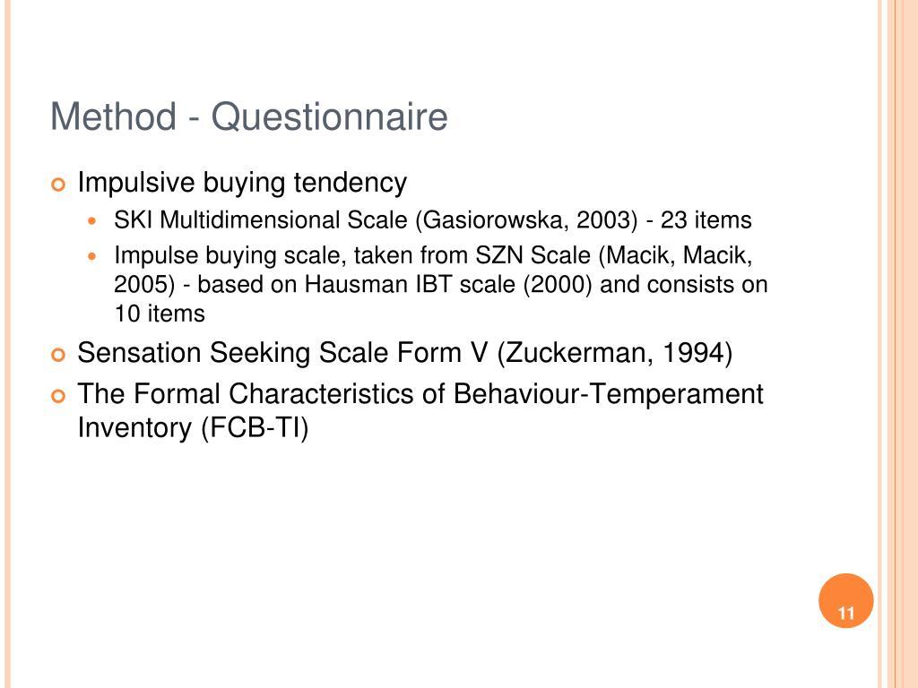 Method - Questionnaire
