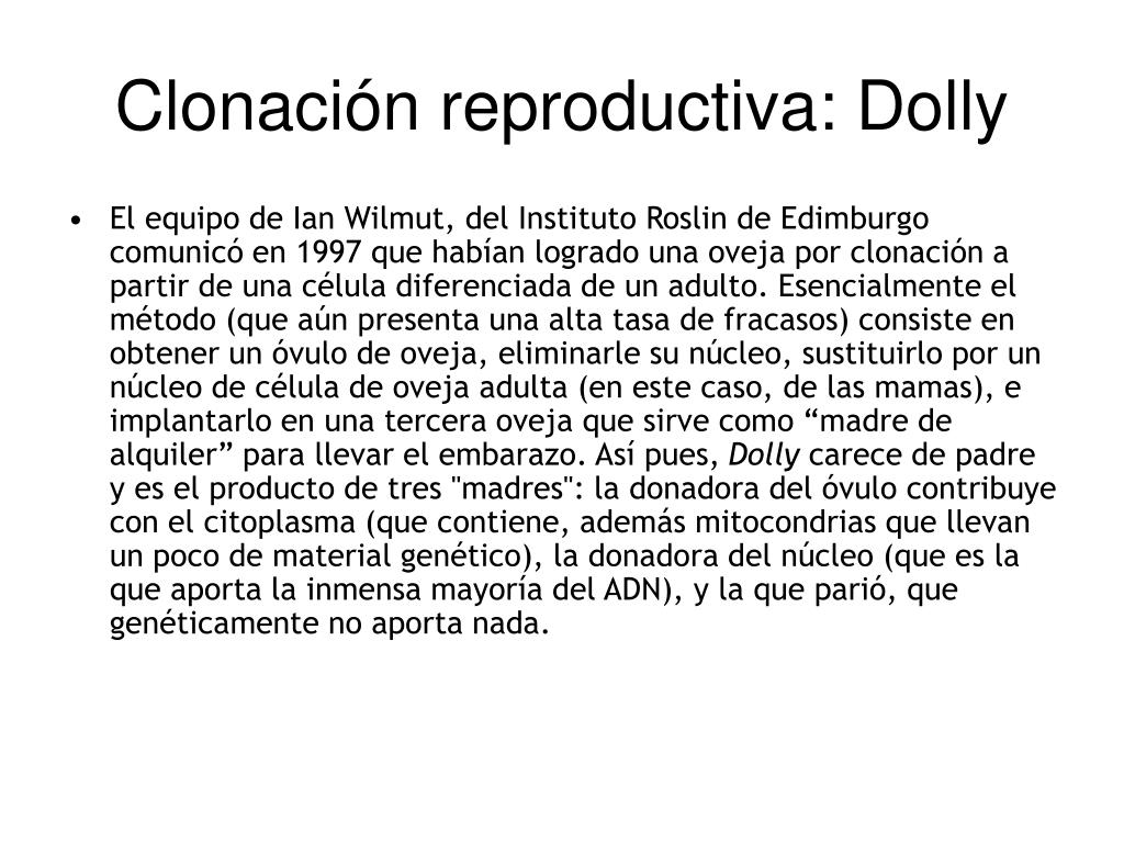 Clonación reproductiva: Dolly