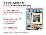 resources available for canine disease gene mapping