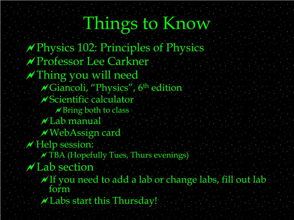 Things to Know