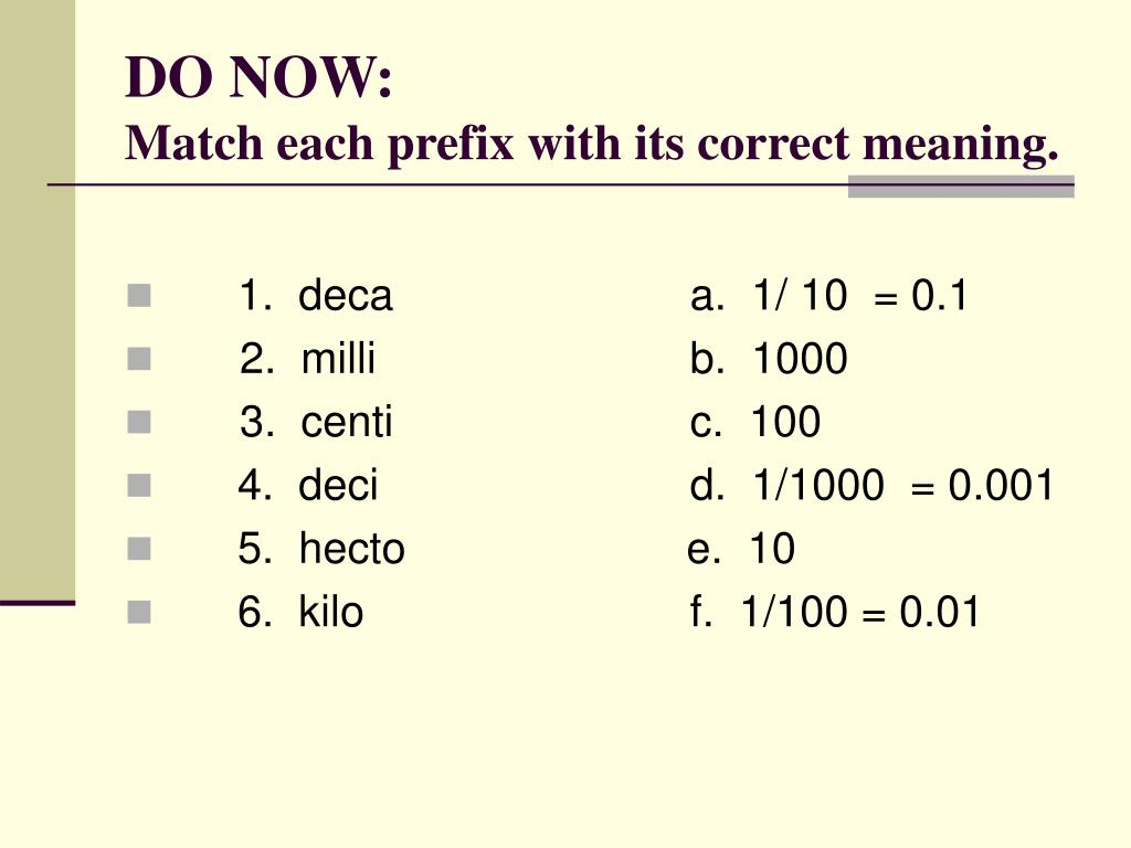 do now match each prefix with its correct meaning l.