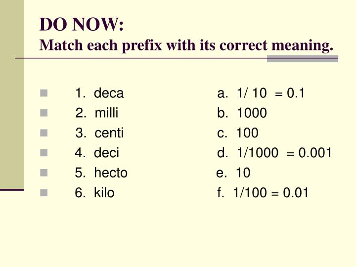 Do now match each prefix with its correct meaning