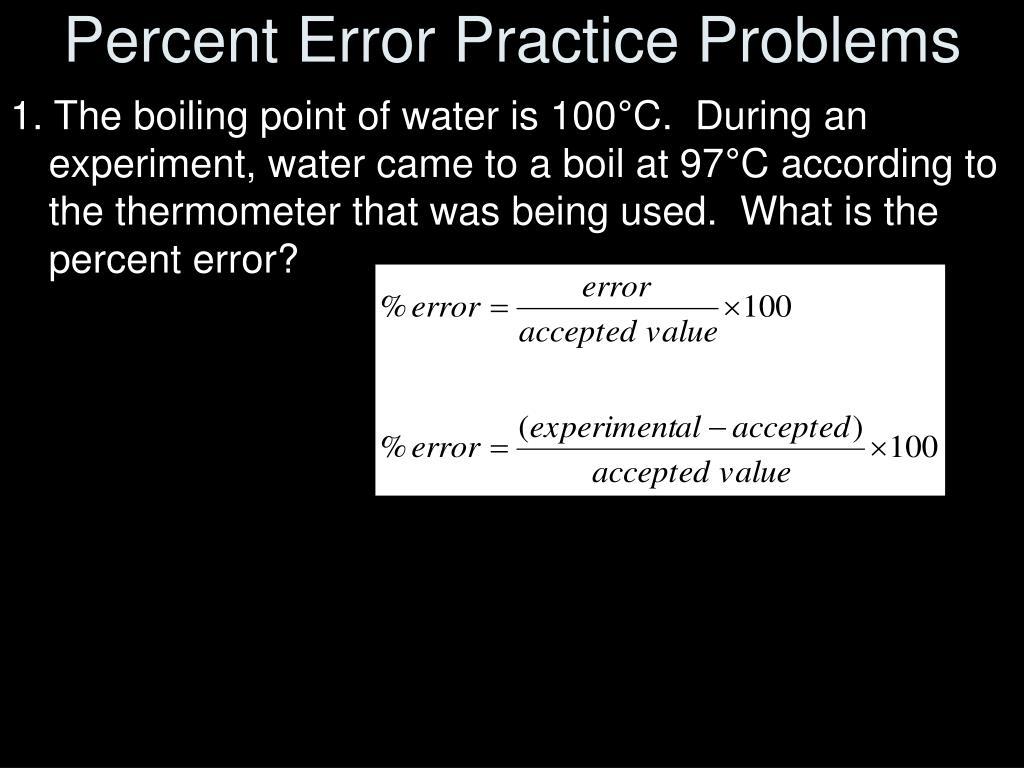 Percent Error Practice Problems