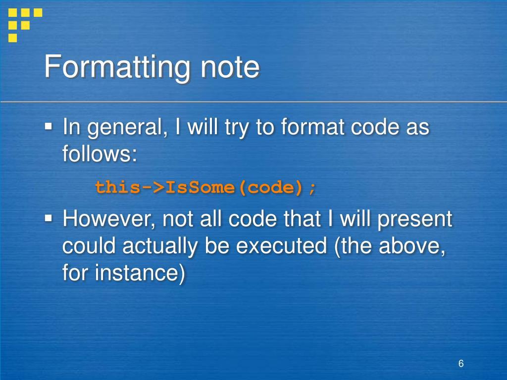 Formatting note