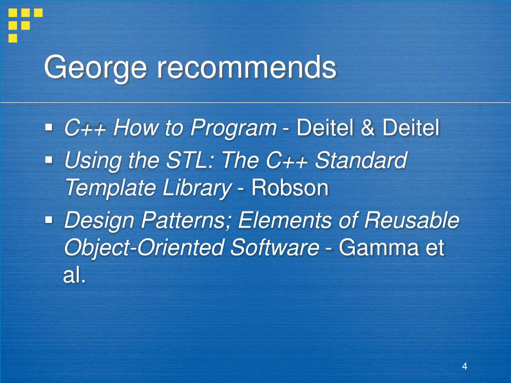 George recommends