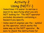 activity 2 using not