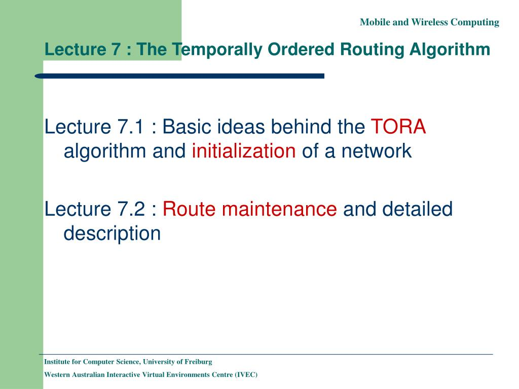lecture 7 the temporally ordered routing algorithm l.
