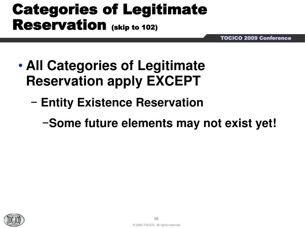 Categories of Legitimate Reservation