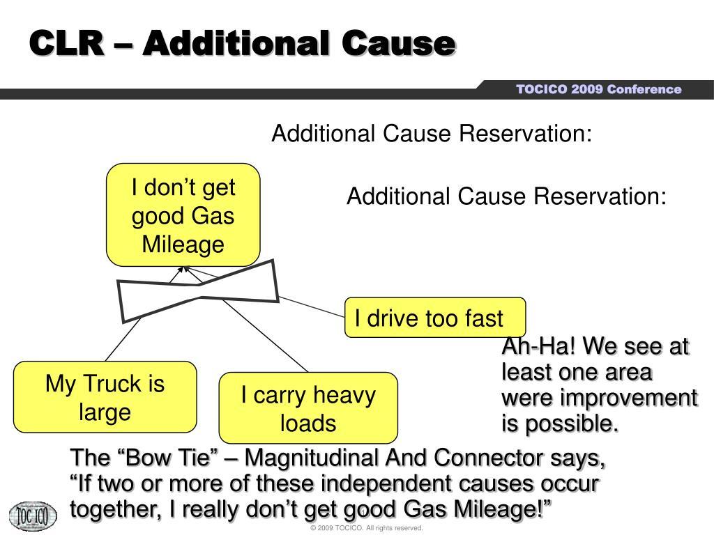CLR – Additional Cause