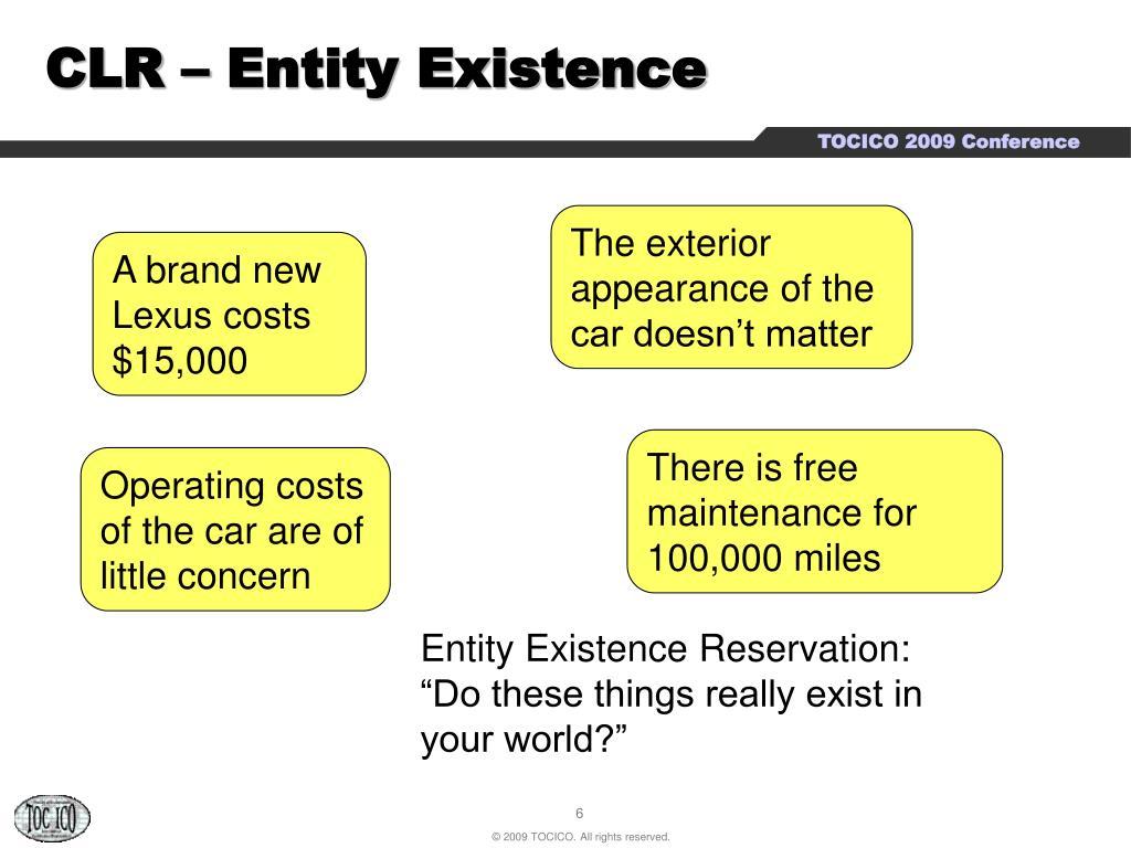 CLR – Entity Existence
