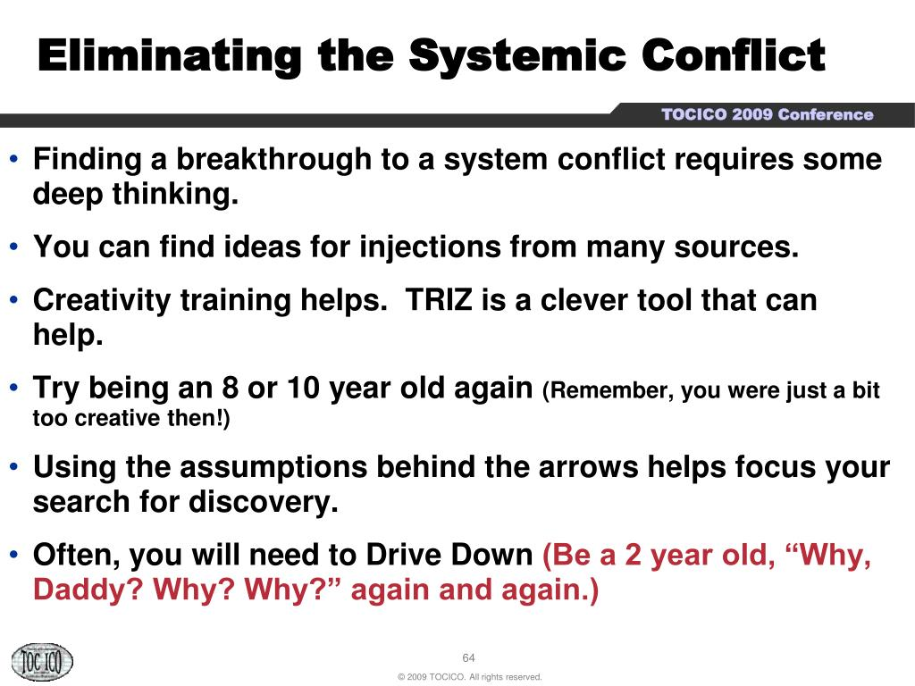 Eliminating the Systemic Conflict