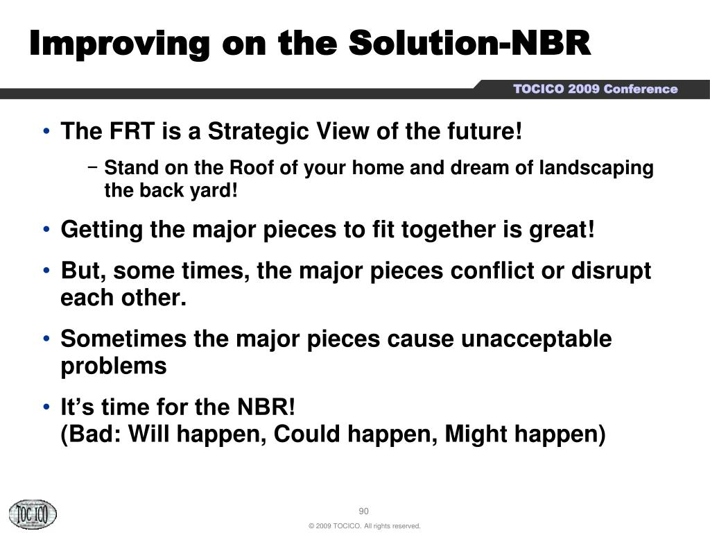 Improving on the Solution-NBR