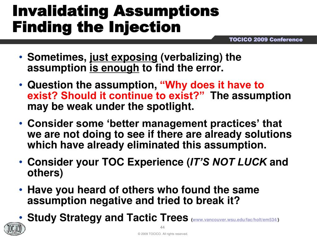 Invalidating Assumptions