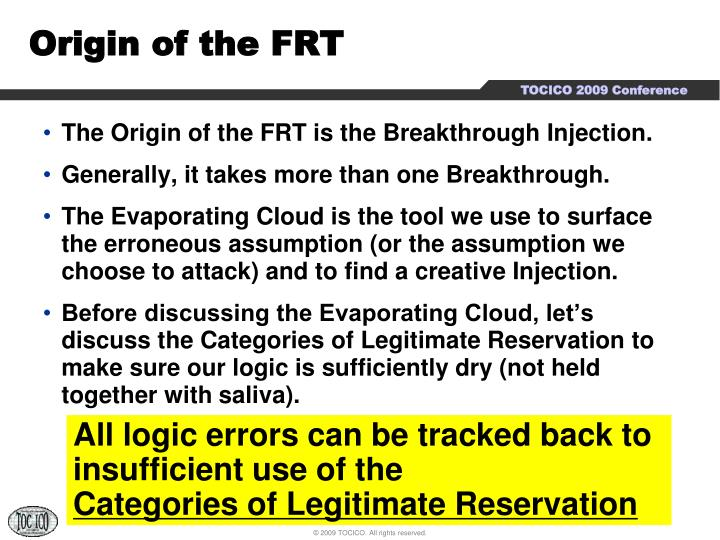 Origin of the frt