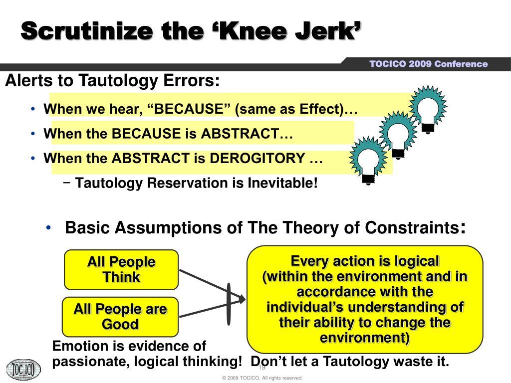 Scrutinize the 'Knee Jerk'