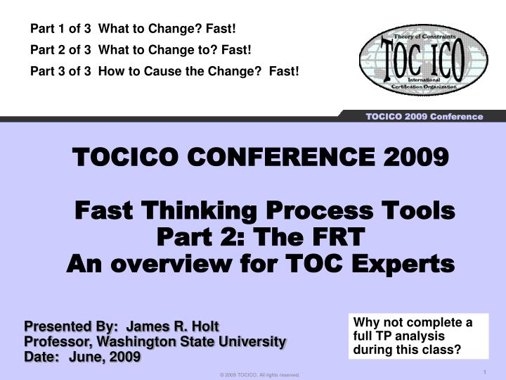Tocico conference 2009 fast thinking process tools part 2 the frt an overview for toc experts