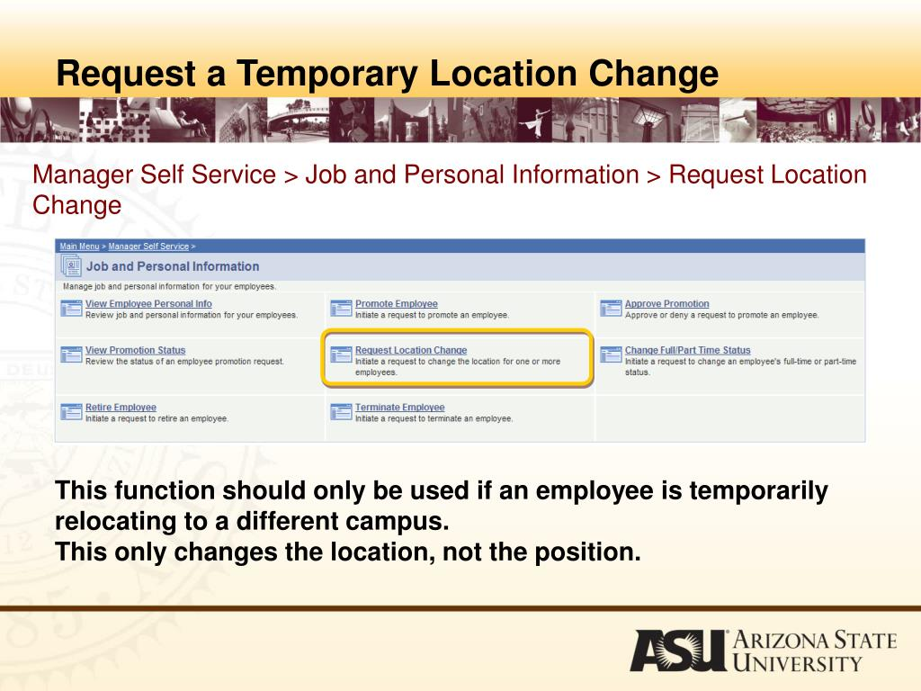 Request a Temporary Location Change