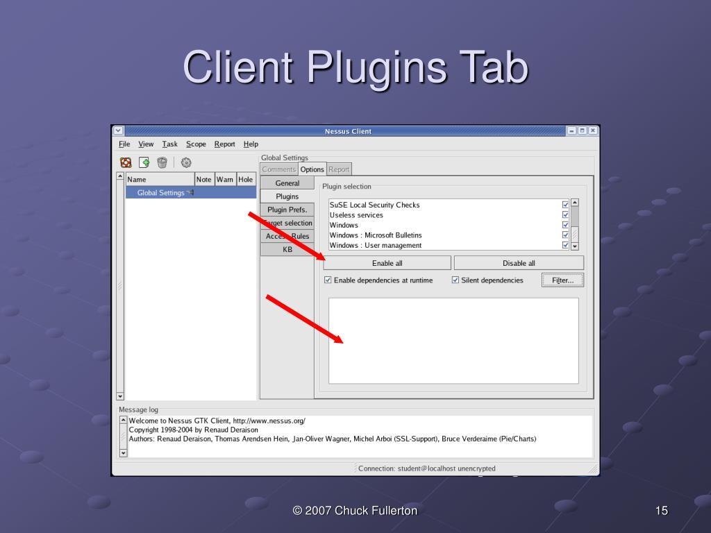 Client Plugins Tab