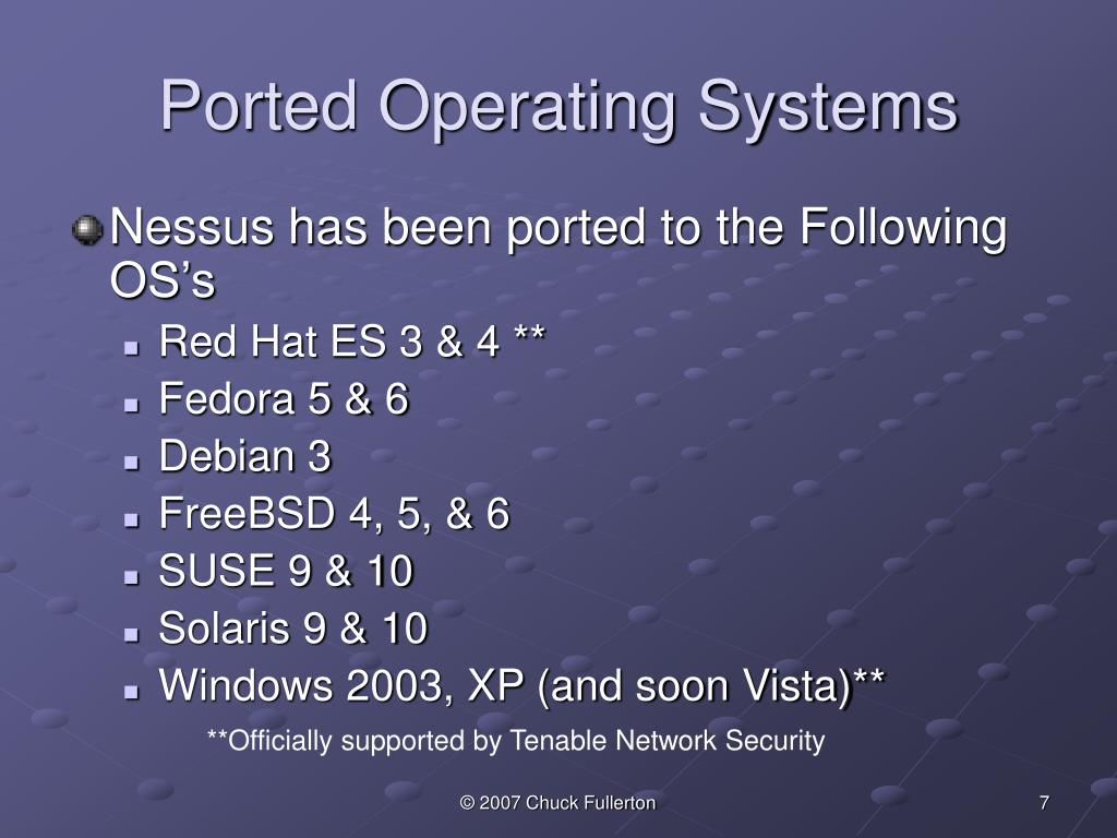 Ported Operating Systems