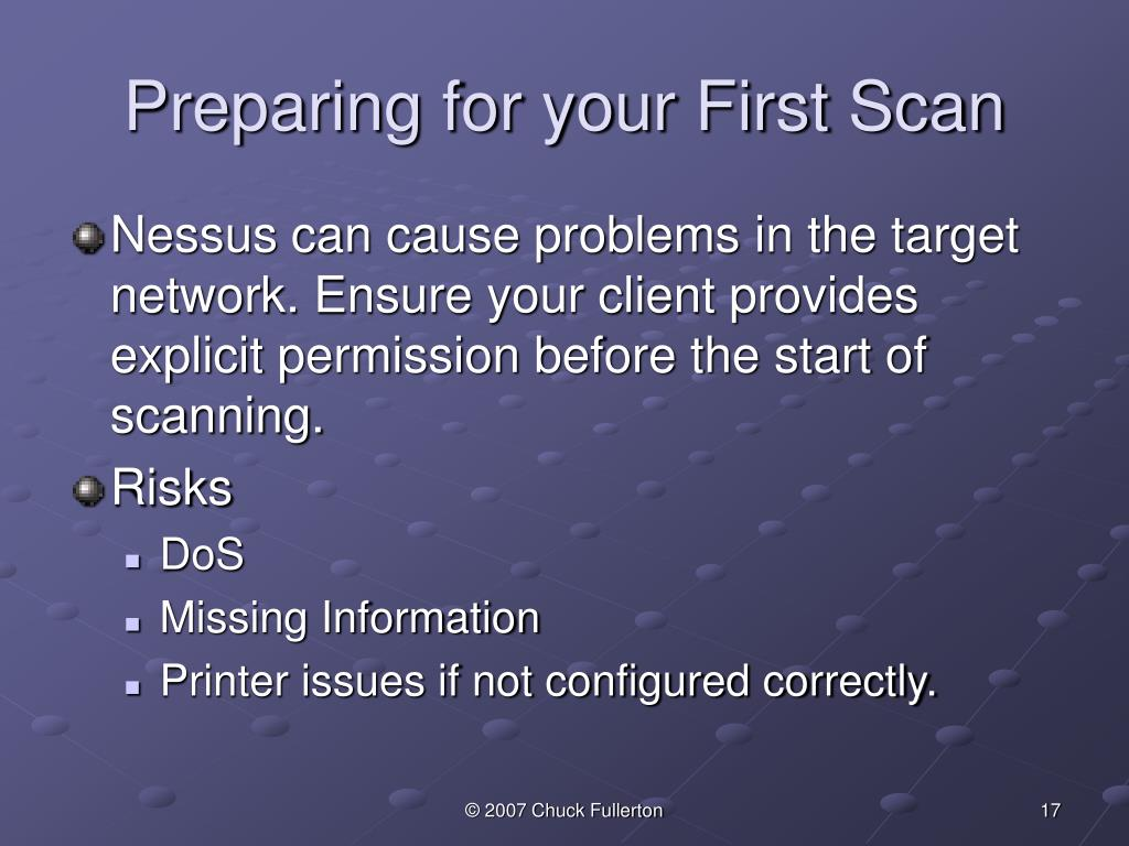 Preparing for your First Scan
