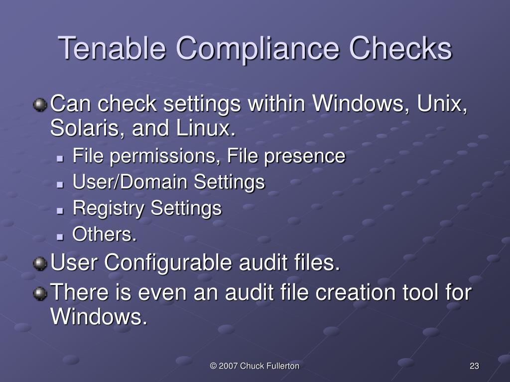 Tenable Compliance Checks