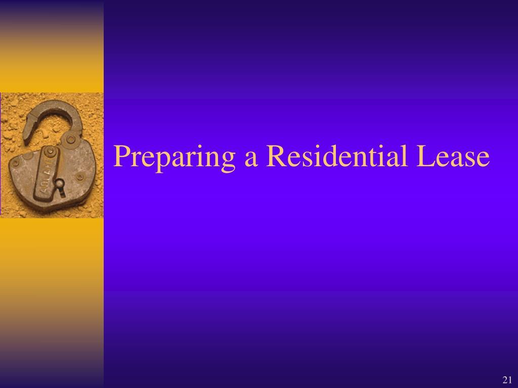 Preparing a Residential Lease