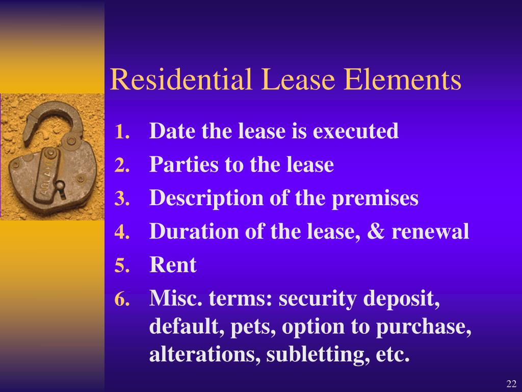 Residential Lease Elements