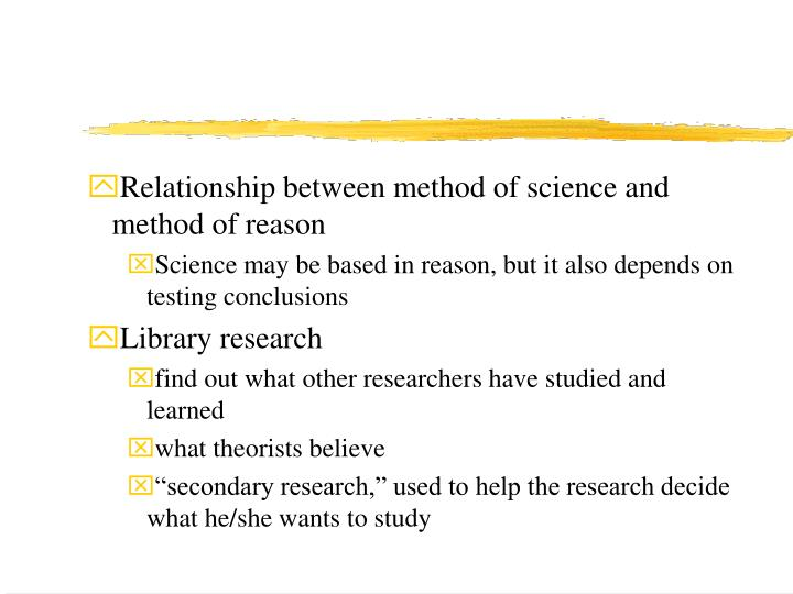 Relationship between method of science and method of reason