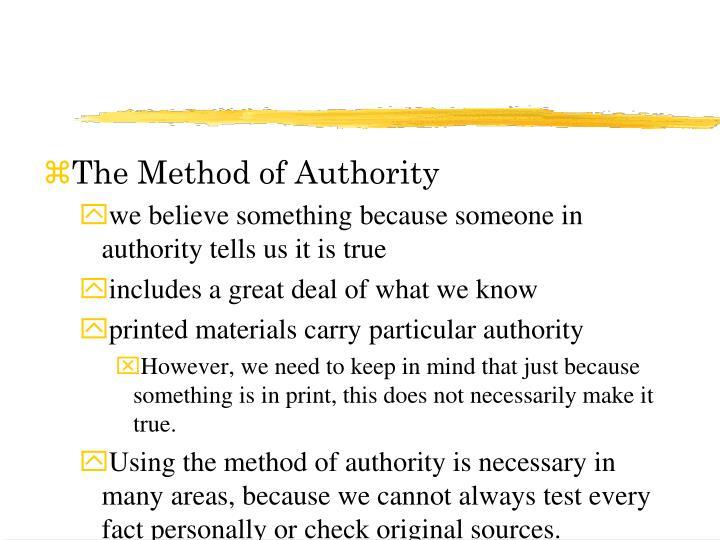 The Method of Authority