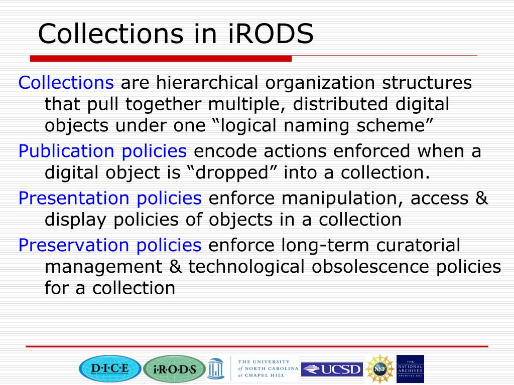 Collections in iRODS