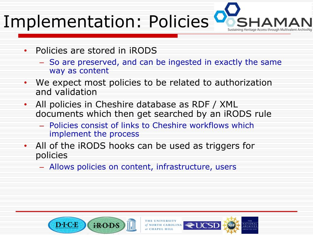 Implementation: Policies