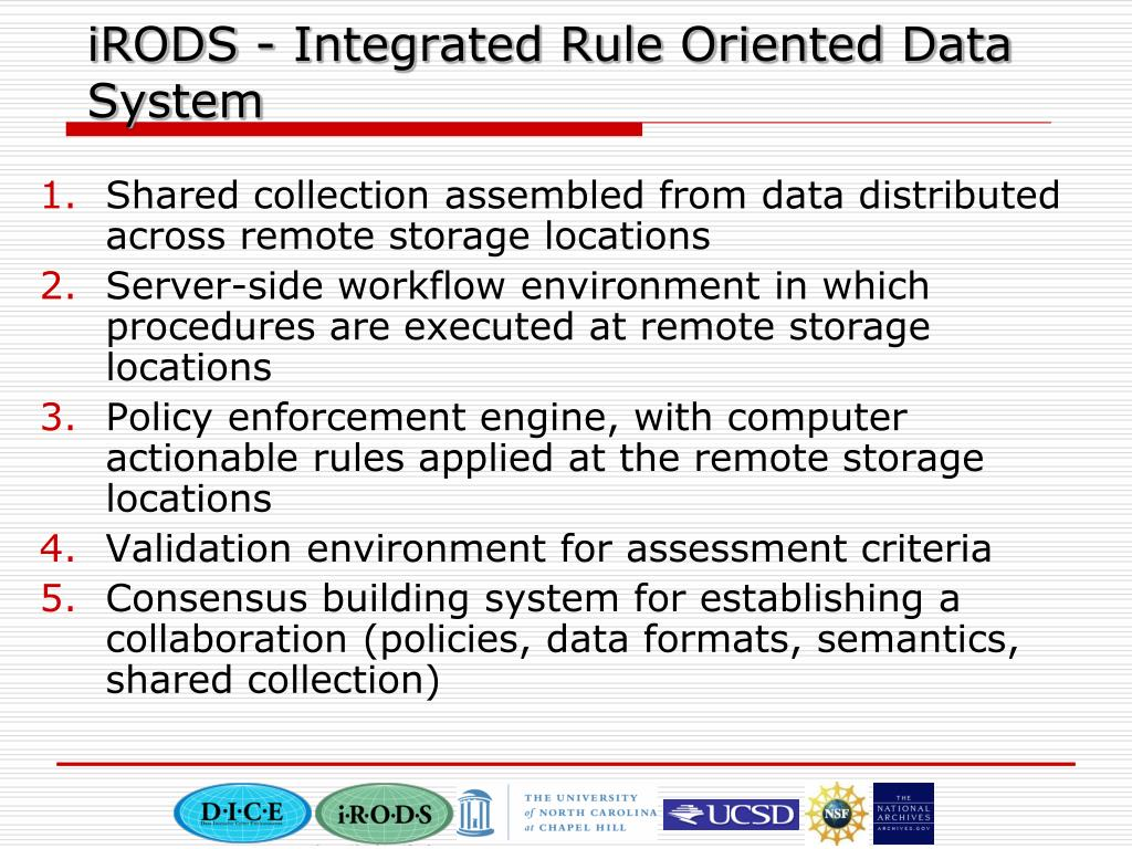 iRODS - Integrated Rule Oriented Data System