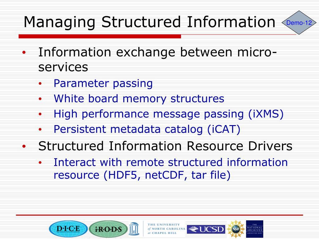 Managing Structured Information