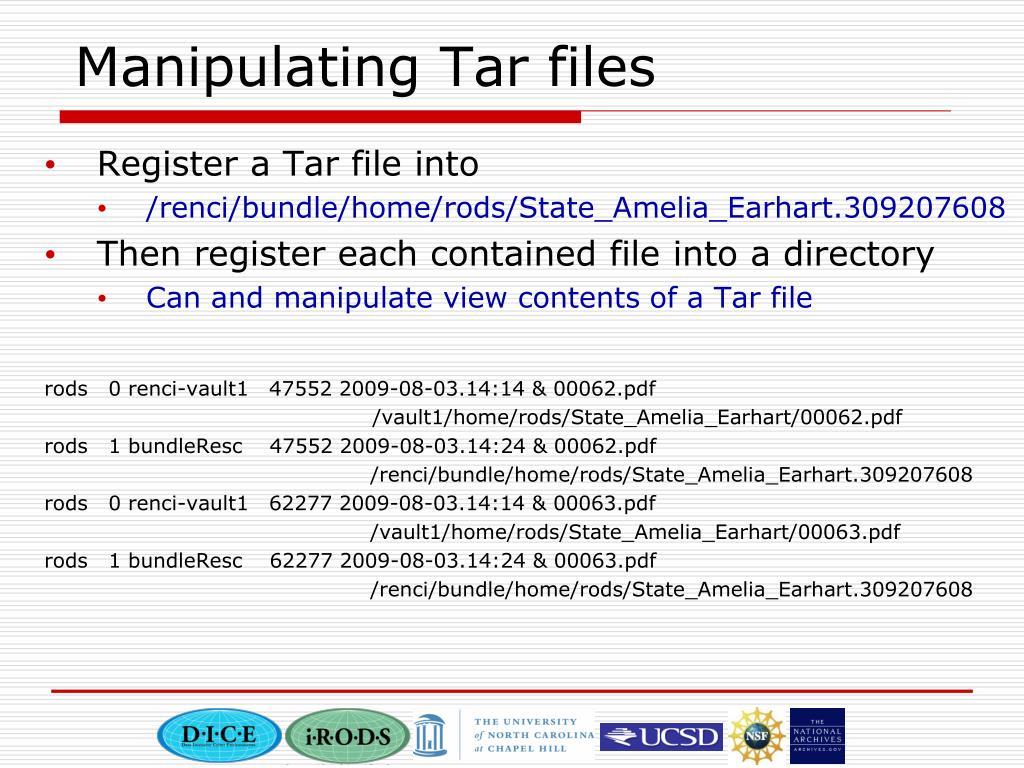 Manipulating Tar files