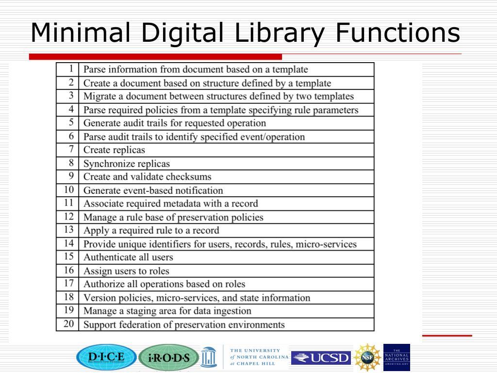 Minimal Digital Library Functions