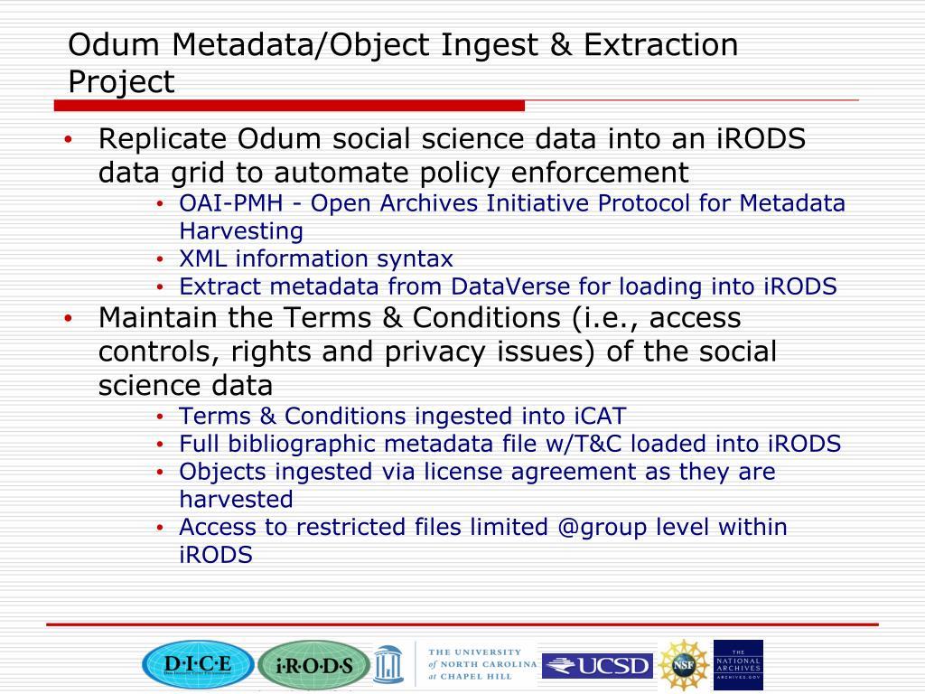 Odum Metadata/Object Ingest & Extraction Project