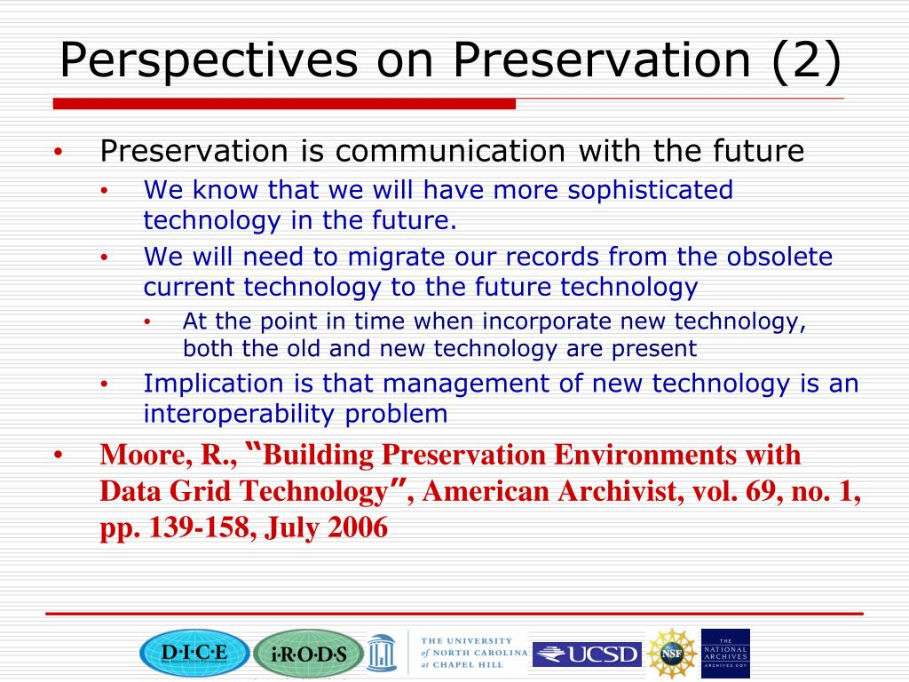 Perspectives on Preservation (2)