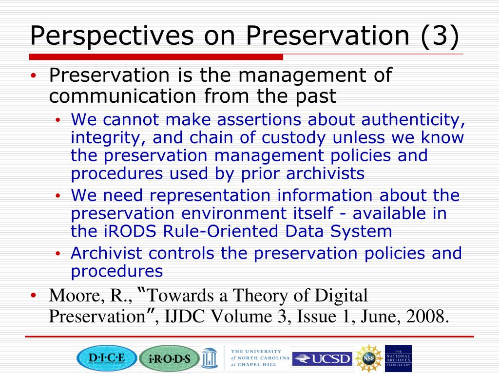 Perspectives on Preservation (3)