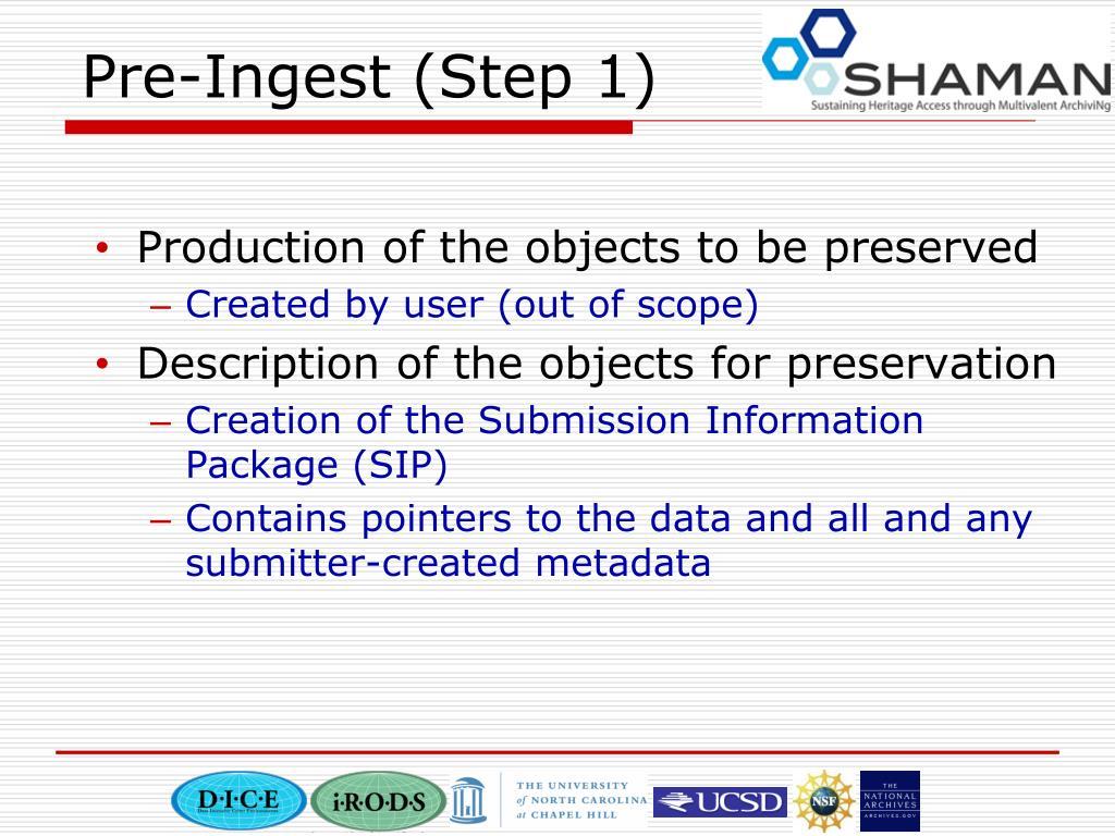 Pre-Ingest (Step 1)