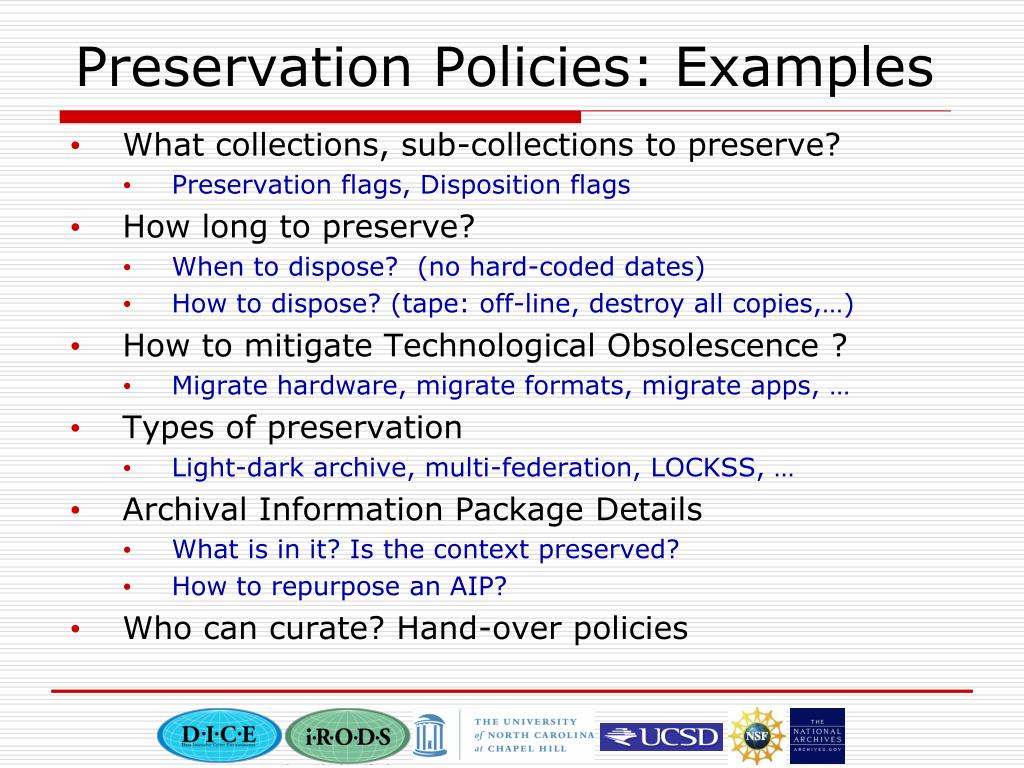 Preservation Policies: Examples