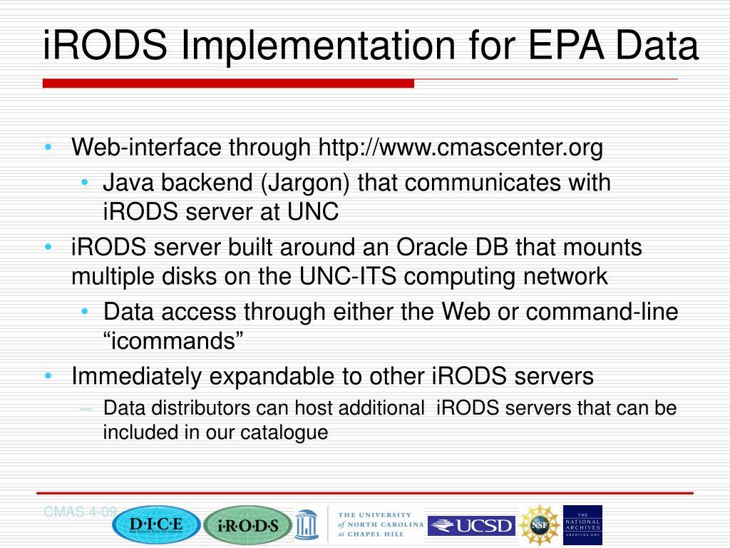iRODS Implementation for EPA Data