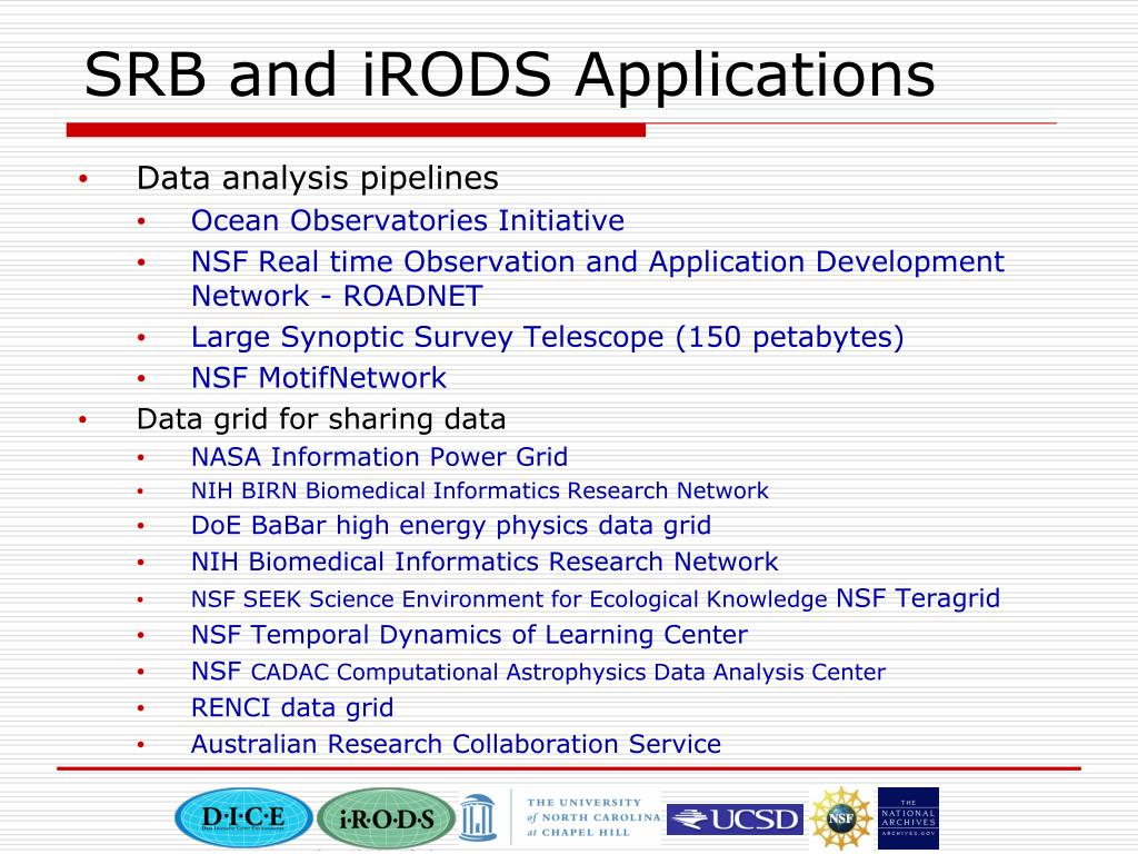 SRB and iRODS Applications