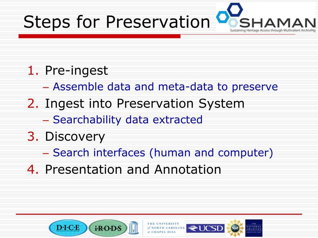 Steps for Preservation