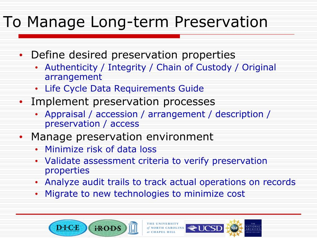To Manage Long-term Preservation