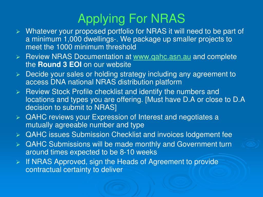 Applying For NRAS